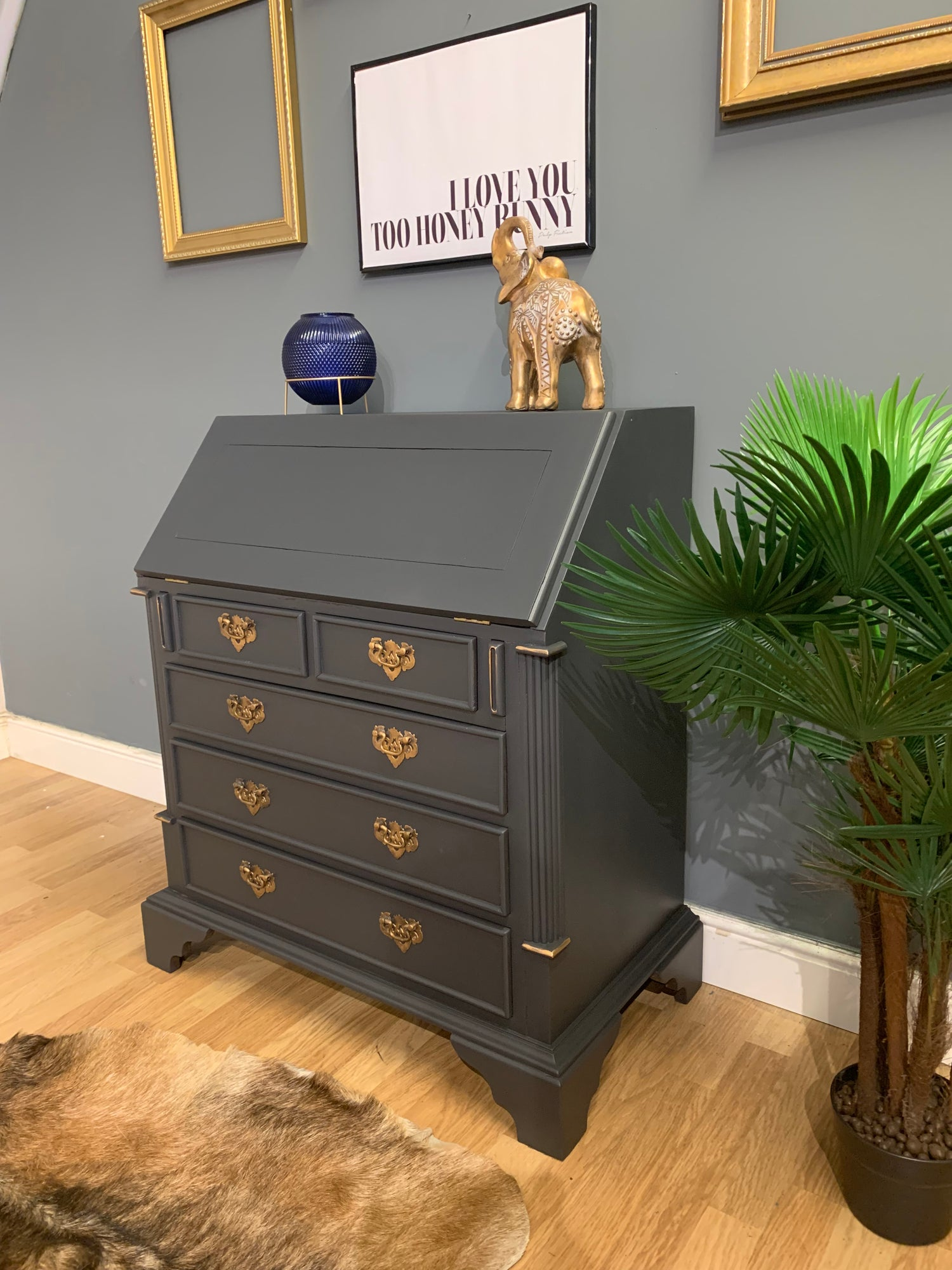 Image of Stunning dark grey and gold mahogany bureau desk