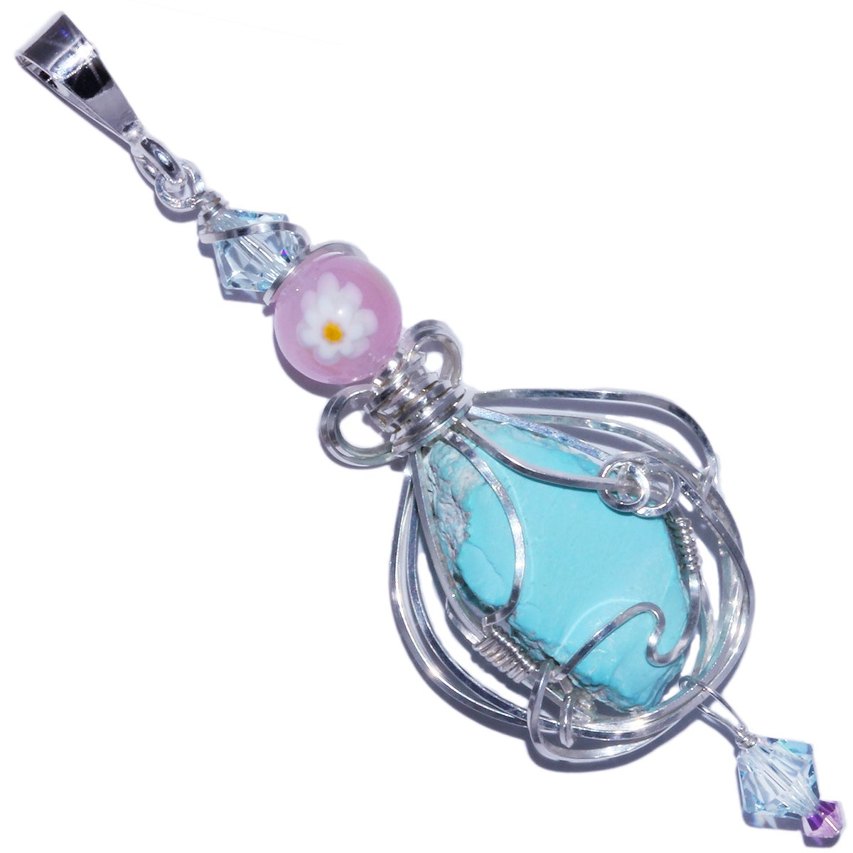 Sleeping Beauty Turquoise Handmade Pendant with Venetian Glass Fiori Bead