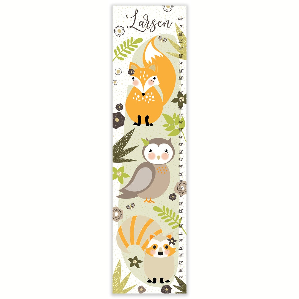 Image of Sweet Woodland Forest Creature - Personalized Canvas Growth Chart