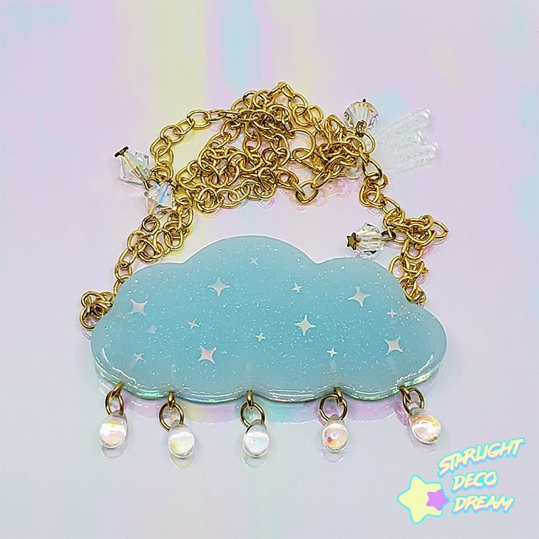 Image of Dreaming Cityscape Swarovski Crystal Star and Drops Cloud Necklace