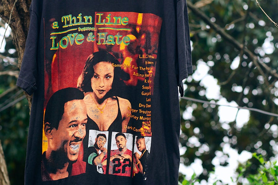 "Image of Rare 1996 Vintage Bay Club ""A Thin Line Between Love & Hate - H-TOWN"" Rap Tee"