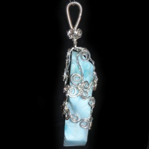 Image of Larimar Handmade Filigree Wire Wrapped Pendant
