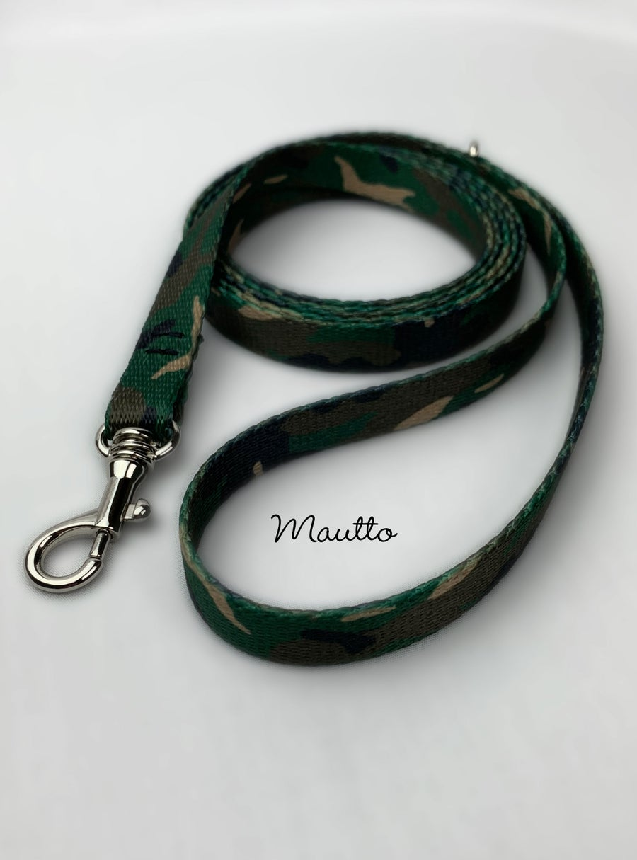 Image of Green Camo Dog Leash for Petite to Small Size Animal/Cat/Pet - 4 Lengths (Short to Extra Long)