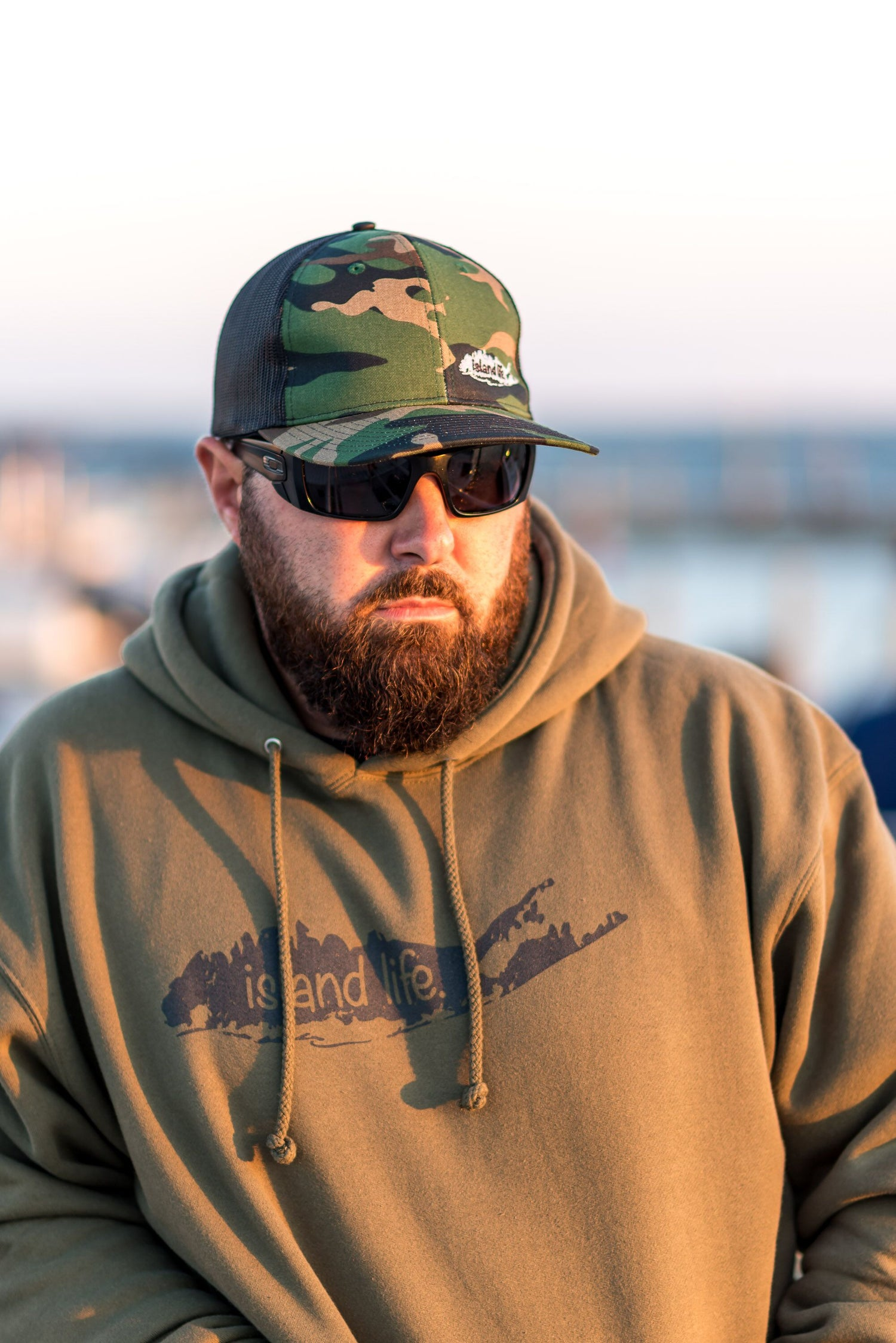 Image of  Island Life Logo Pullover Hoodie - Army Green