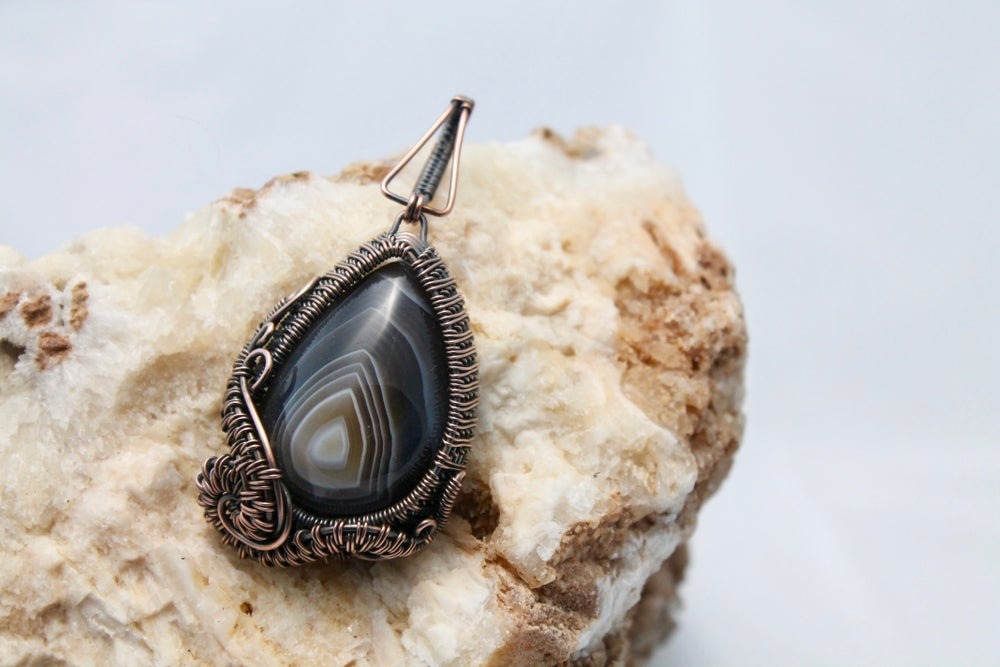 "Image of ""Ekart"" Large Wire Wrapped Botswana Agate in Oxidized Copper Pendant"