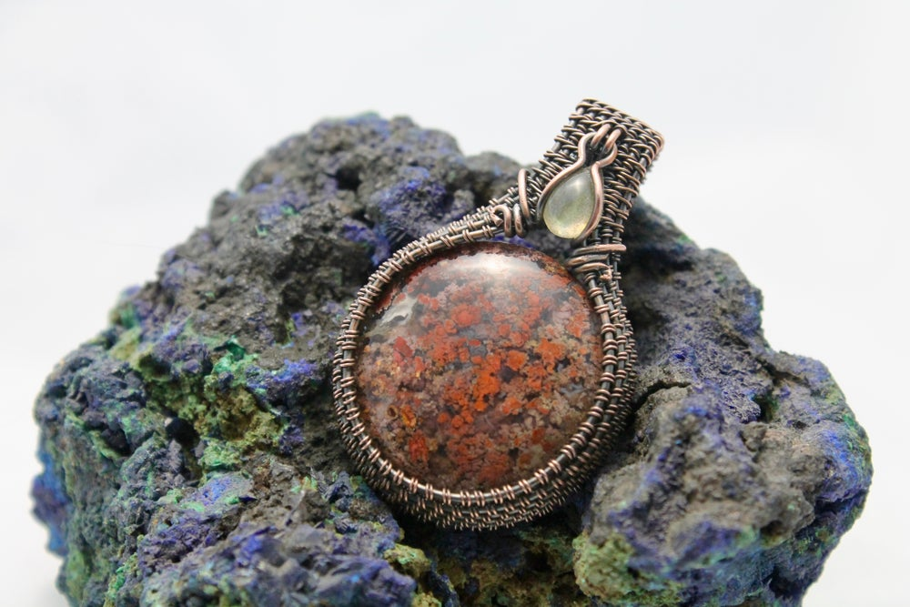 "Image of ""Persee"" Round Wire Wrapped Moroccan Agate & Labradorite Amulet Pendant"