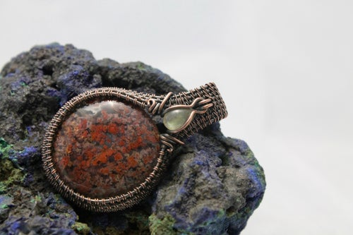"""Image of """"Persee"""" Round Wire Wrapped Moroccan Agate & Labradorite Amulet Pendant"""