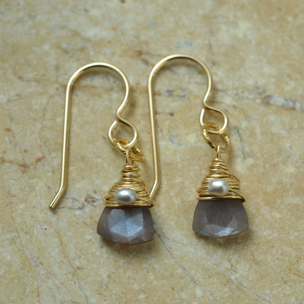 Image of Moku Brown Moonstone Earrings