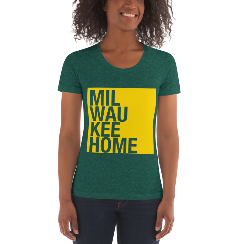 Image of WOMEN'S GOLD ON GREEN TEE