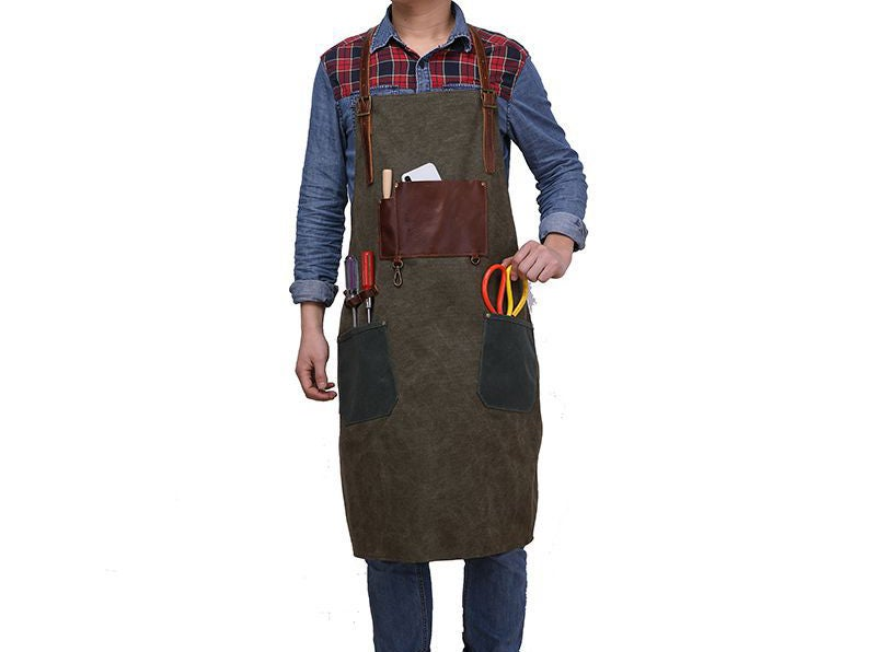 Image of Waxed Canvas and Leather Apron, Crafter Apron, Barista's Apron, Barbers Apron, Custom Apron WQ5895