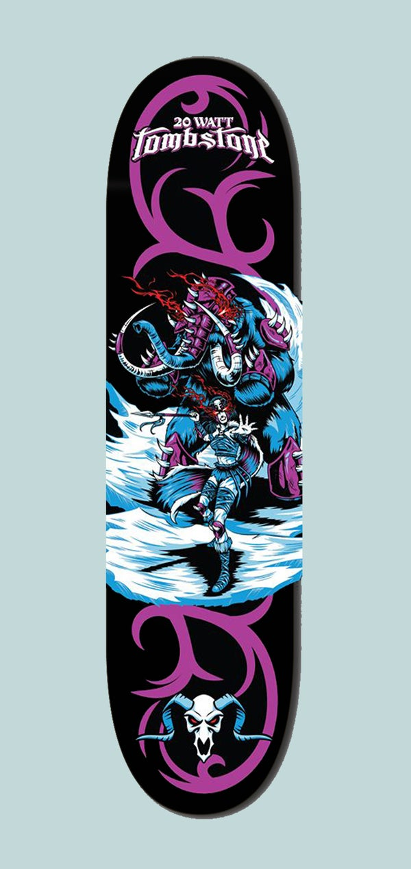 Image of 20 Watt Tombstone Skatedboard deck by Sined Skateboards!