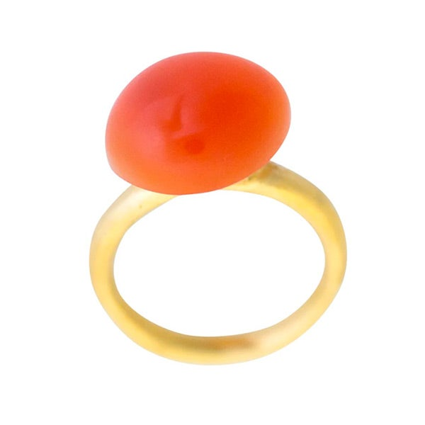 Image of 24 ct Gold-plated silver Luna small pebble ring