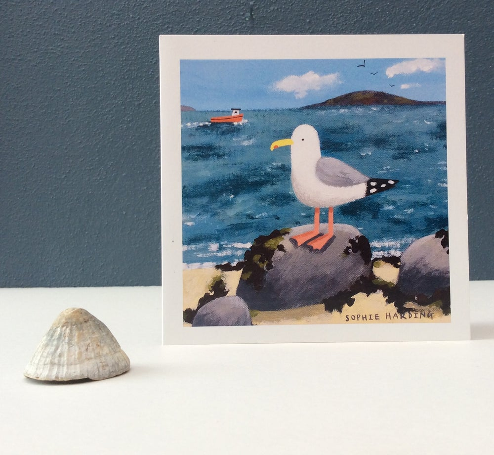 Image of Gull and Fishing Boat card