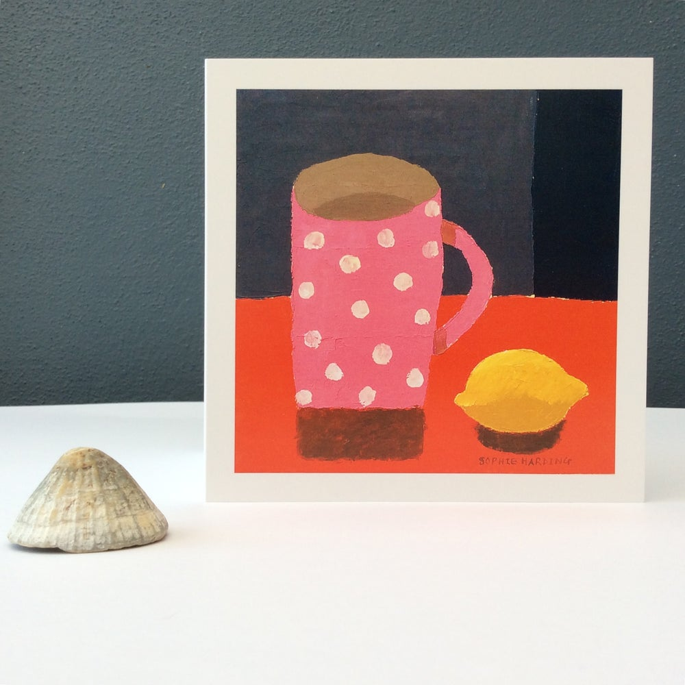 Image of Spotty pink Cup and Lemon card