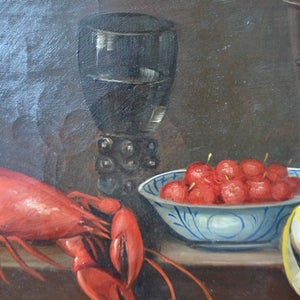 Image of 19thC French Painting, 'Crayfish and Fruits.'