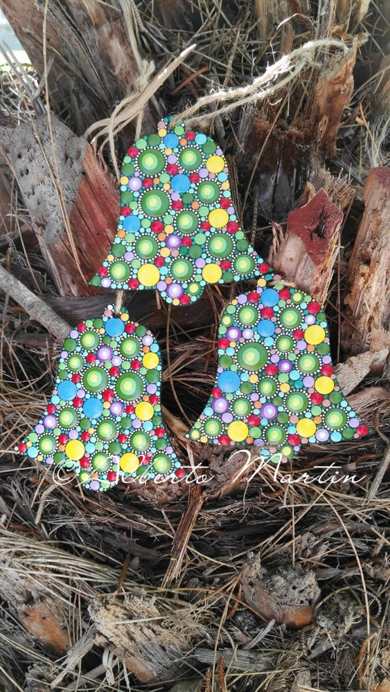 Image of Christmas tree ornaments- Dot art Christmas bell ornaments by Alberto Martin