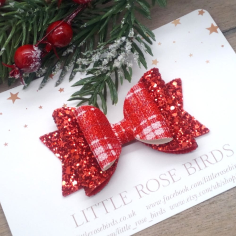 Image of Red Glitter & Tartan Bow - Choice of Size