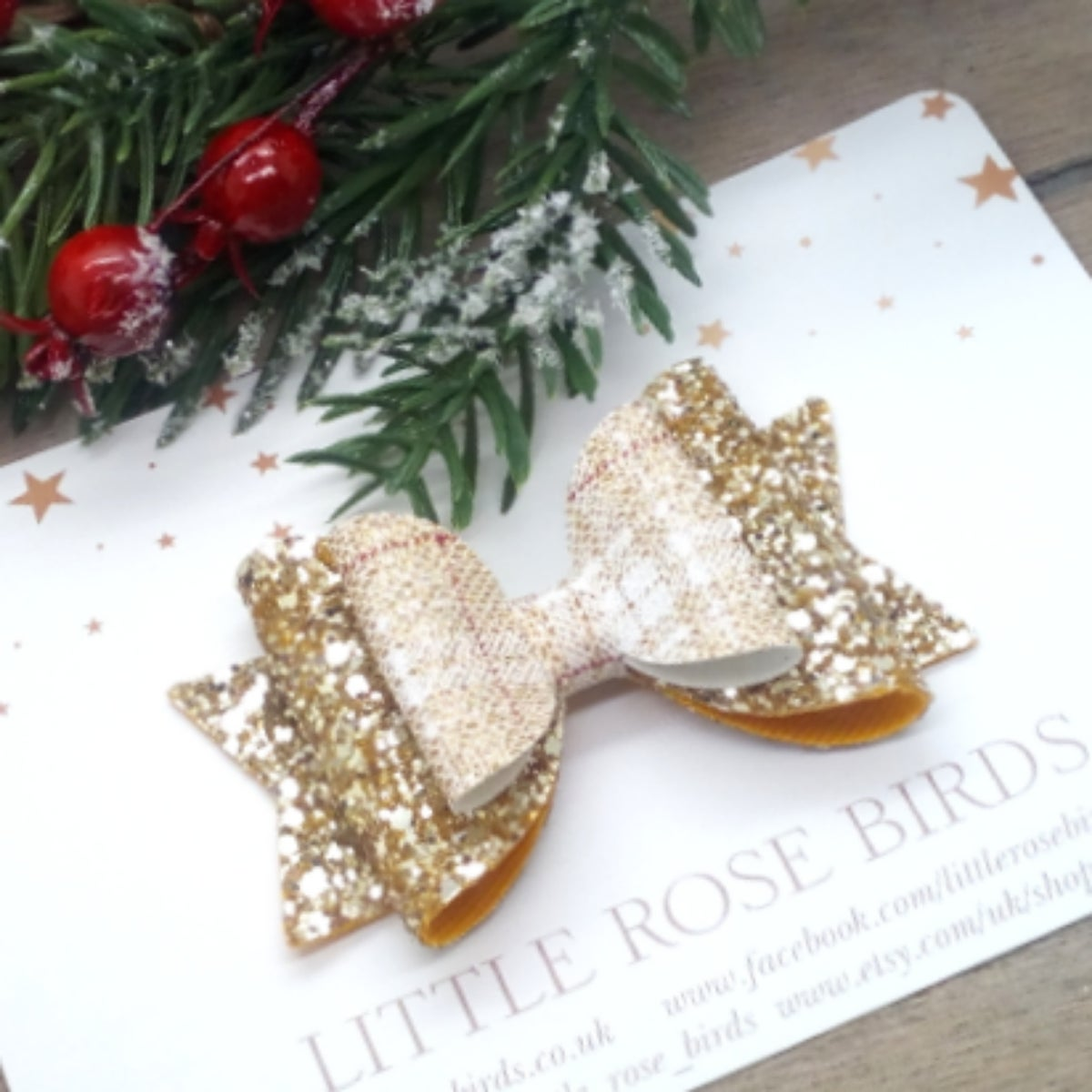 Image of Gold Glitter & Tartan Bow - Choice of Size