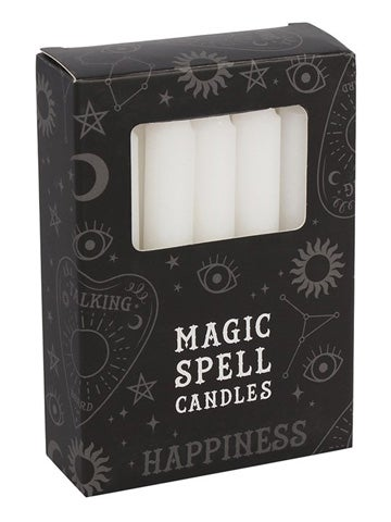 Image of HAPPINESS Spell Candles WHITE (12)