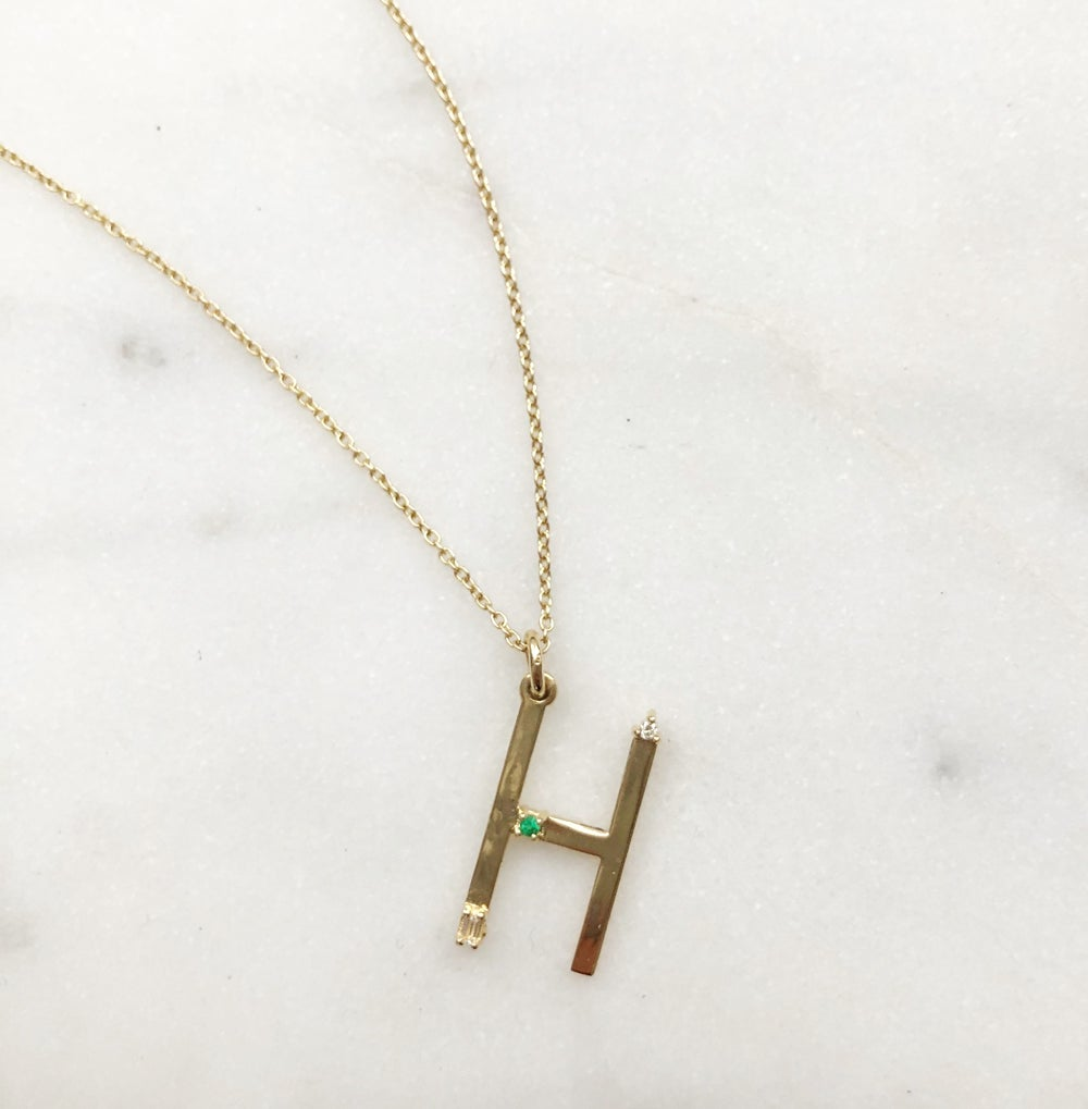 Image of Letter Pendant Necklace