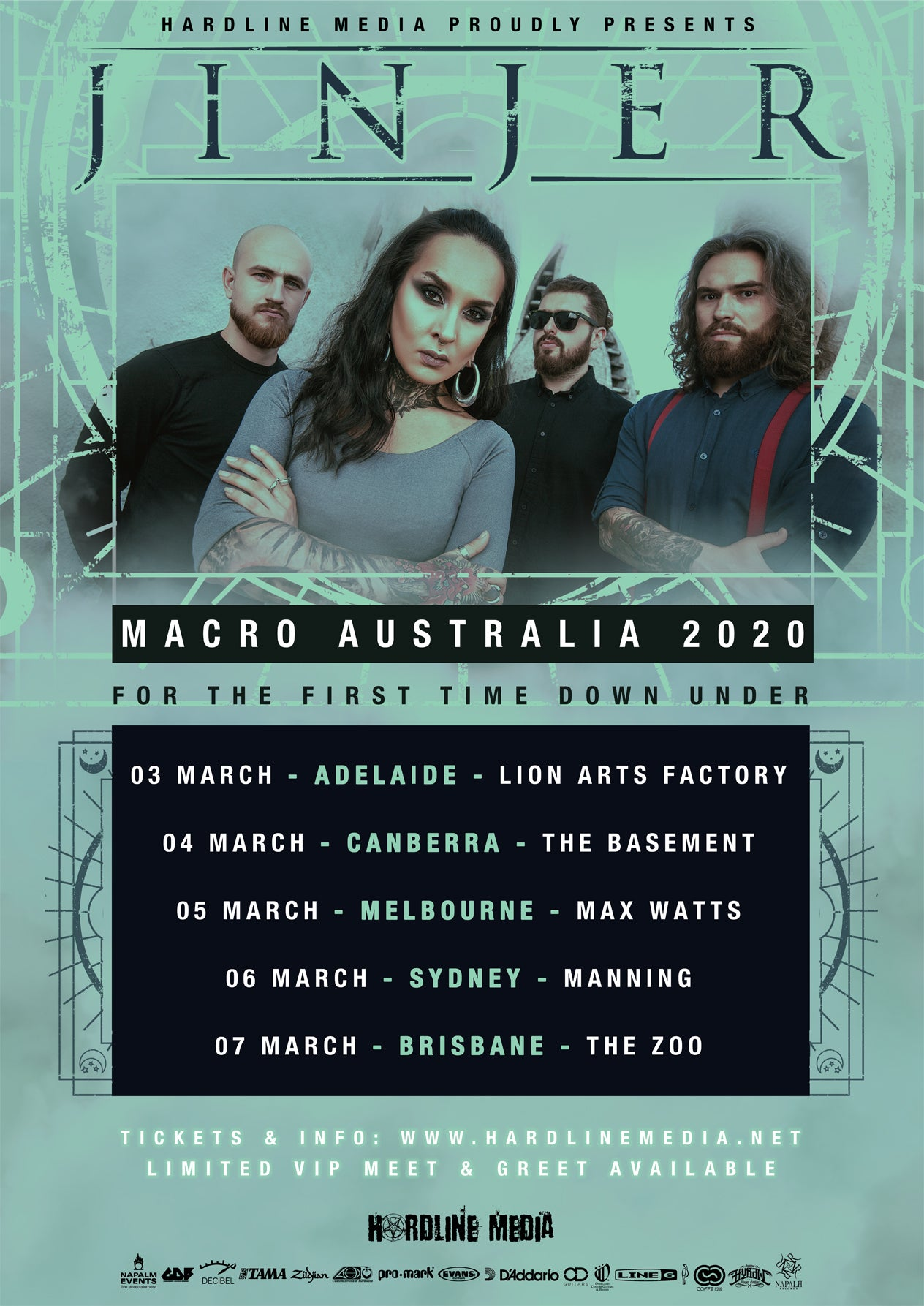 Image of VIP TICKET - JINJER - LICENSED: ALL AGES! - ADELAIDE, LION ARTS FACTORY - TUES 3RD MARCH, 2020