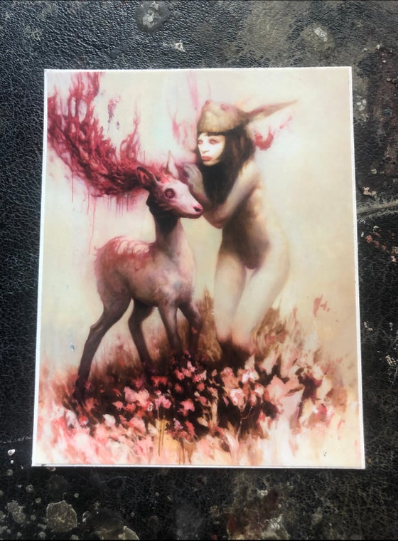 Image of 'ALBINO BUNNY GIRL' - Ultra Premium Fine Art Sticker