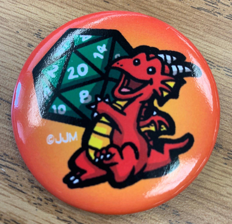 Red Dragon D20 Die