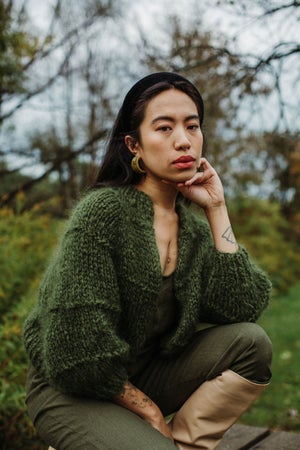 Image of Tofino Mohair Cardigan  (in moss-more colours)