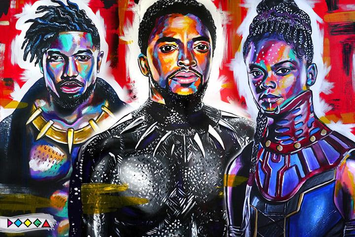 Image of Black panther trio