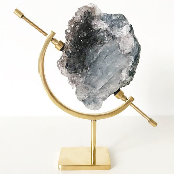 Image of Amethyst no.25 + Brass Arc Stand