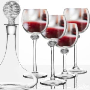 Image of Glitterati Silver Sparkling Crystal Red Wine Decanter Set