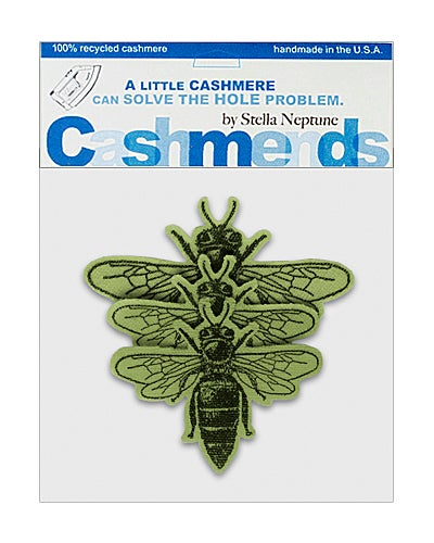 Image of Iron-on Cashmere Bees -  Olive