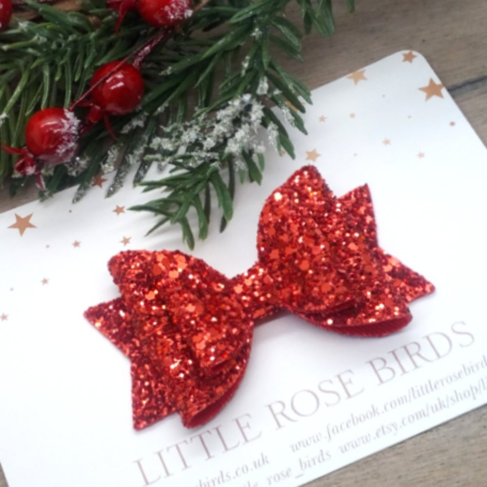 Image of Red Glitter Bow - Choice of Sizes