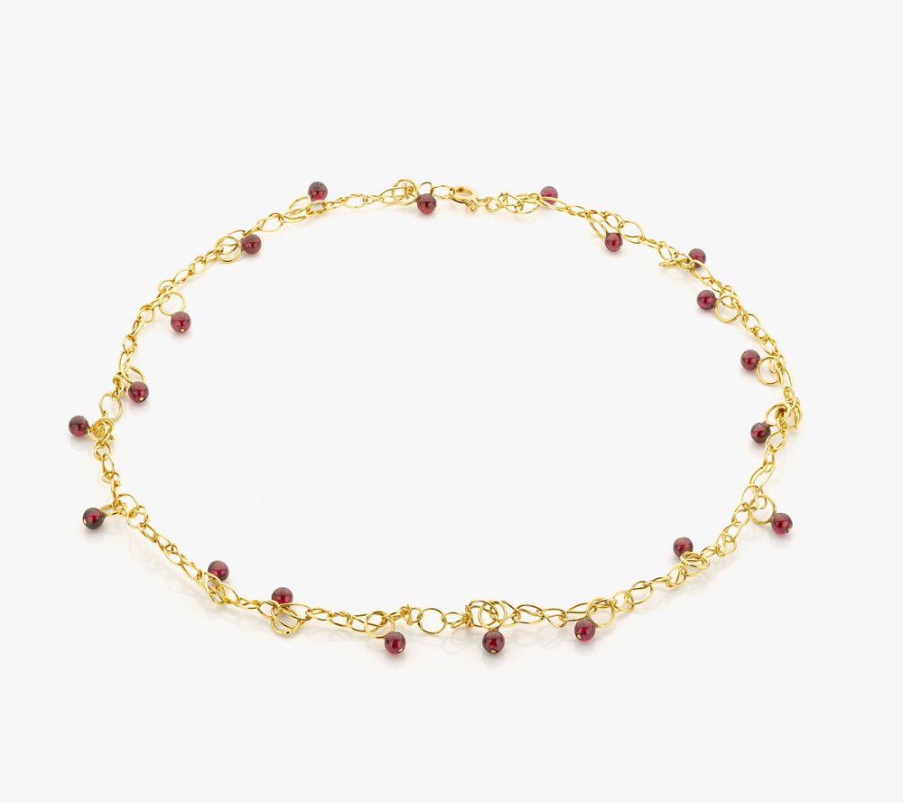 Image of Intertwined necklace in gold and garnets - ketting in goud en granaat