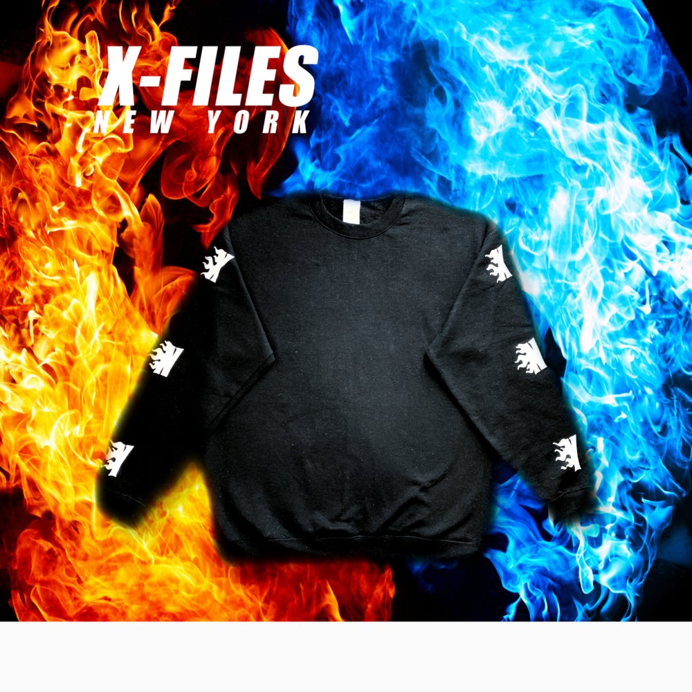 Image of XNY FLAME LOGO CREWNECK (WHITE FLAME