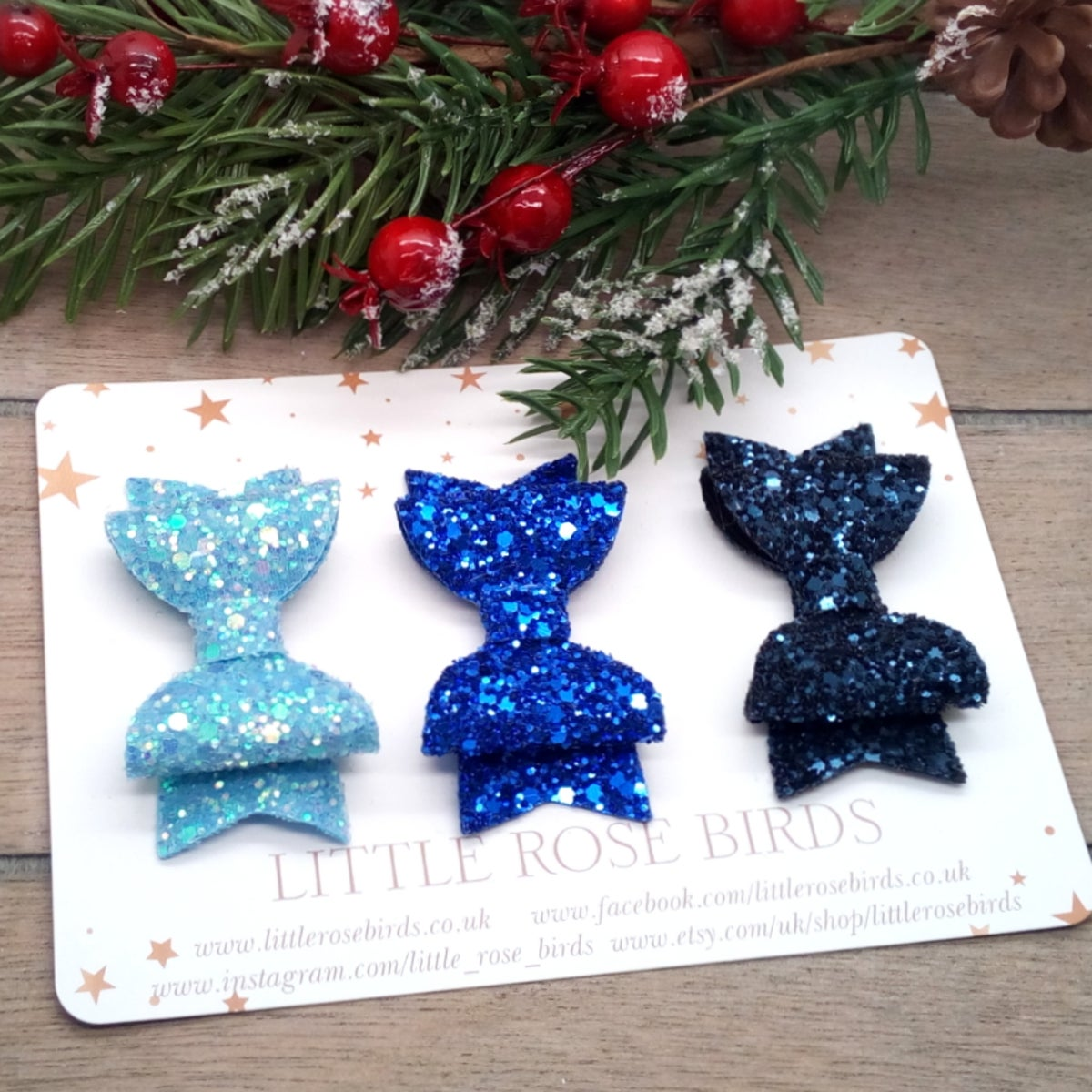 Image of  SET OF 3 Blue Glitter Bows