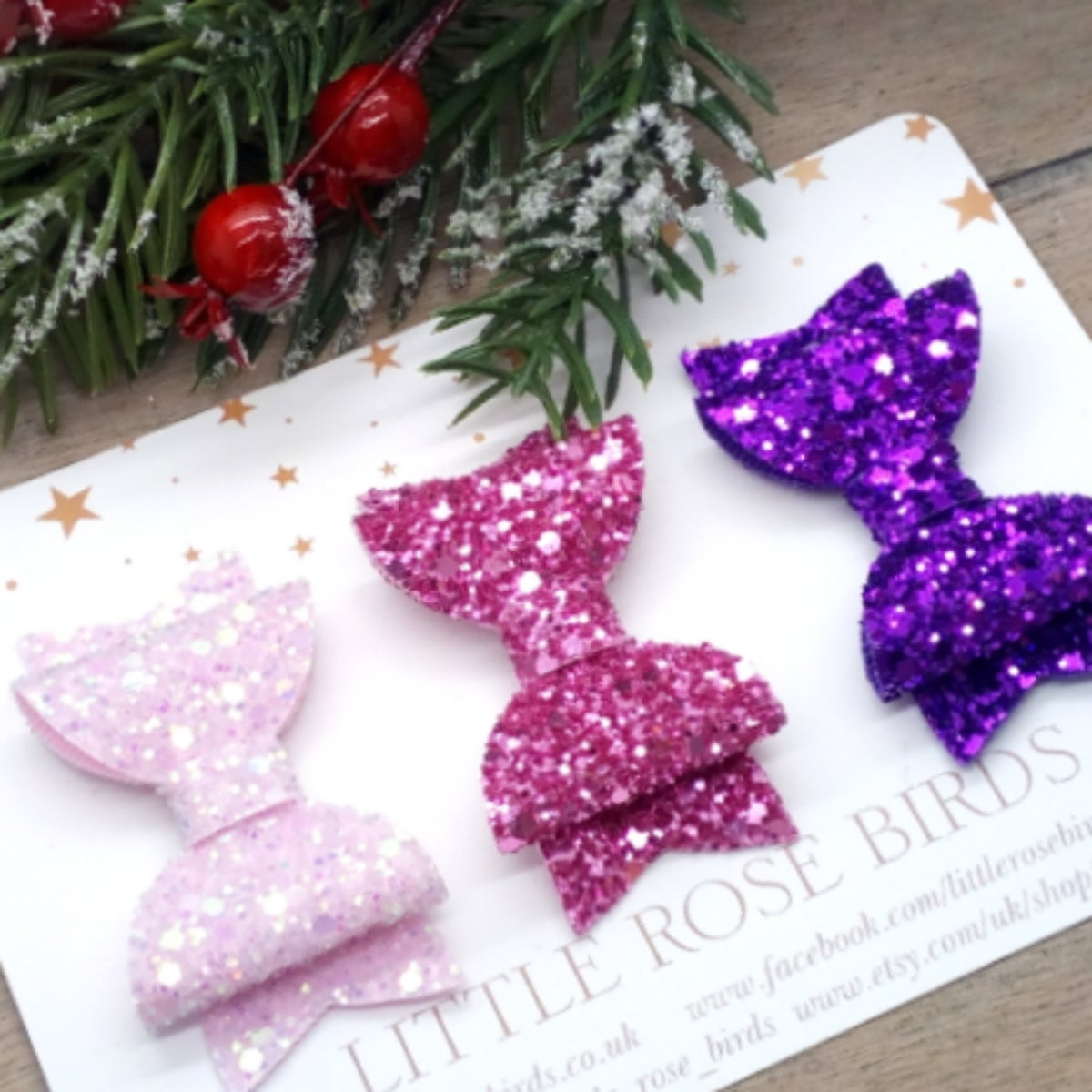 Image of SET OF 3 Pink/Purple Glitter Bows