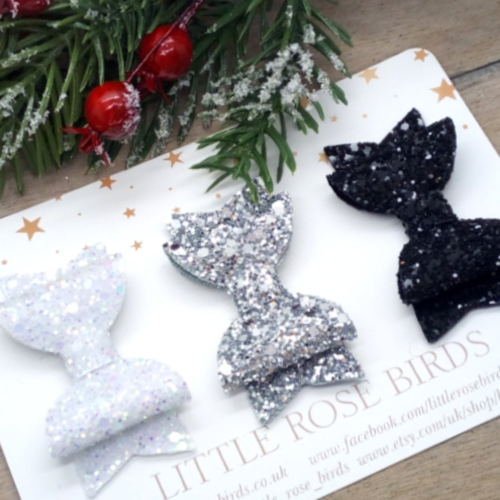 Image of SET OF 3 Mono Glitter Bows
