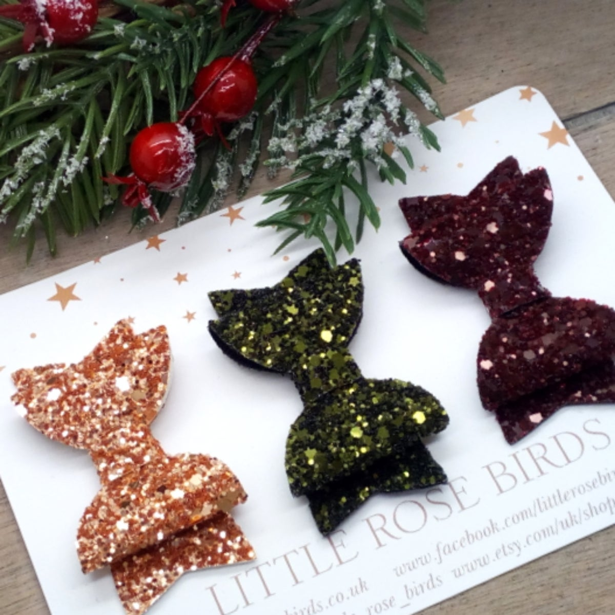 Image of SET OF 3 Autumn Glitter Bows