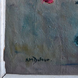 Image of 1950's Painting, 'Cyclamens,' Anne Marie Dufour