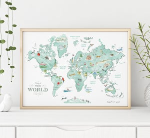 Alice Tait 'Illustrated World Map' Print - Alice Tait Shop
