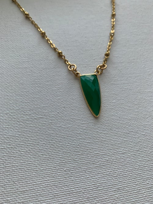 Image of TE FITI SHEILD • Green onyx shield pendant