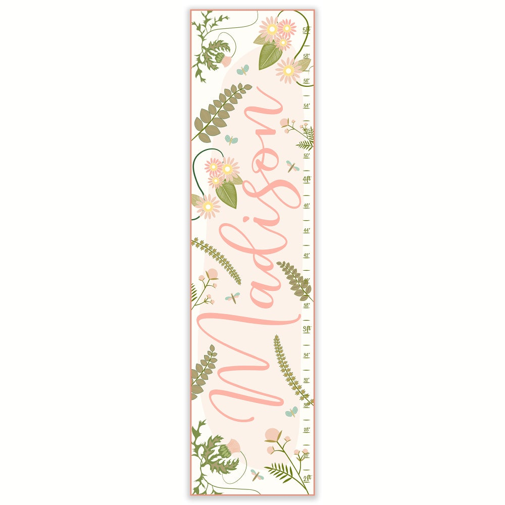 Image of Blush Calligraphy Floral Personalized Canvas Growth Chart