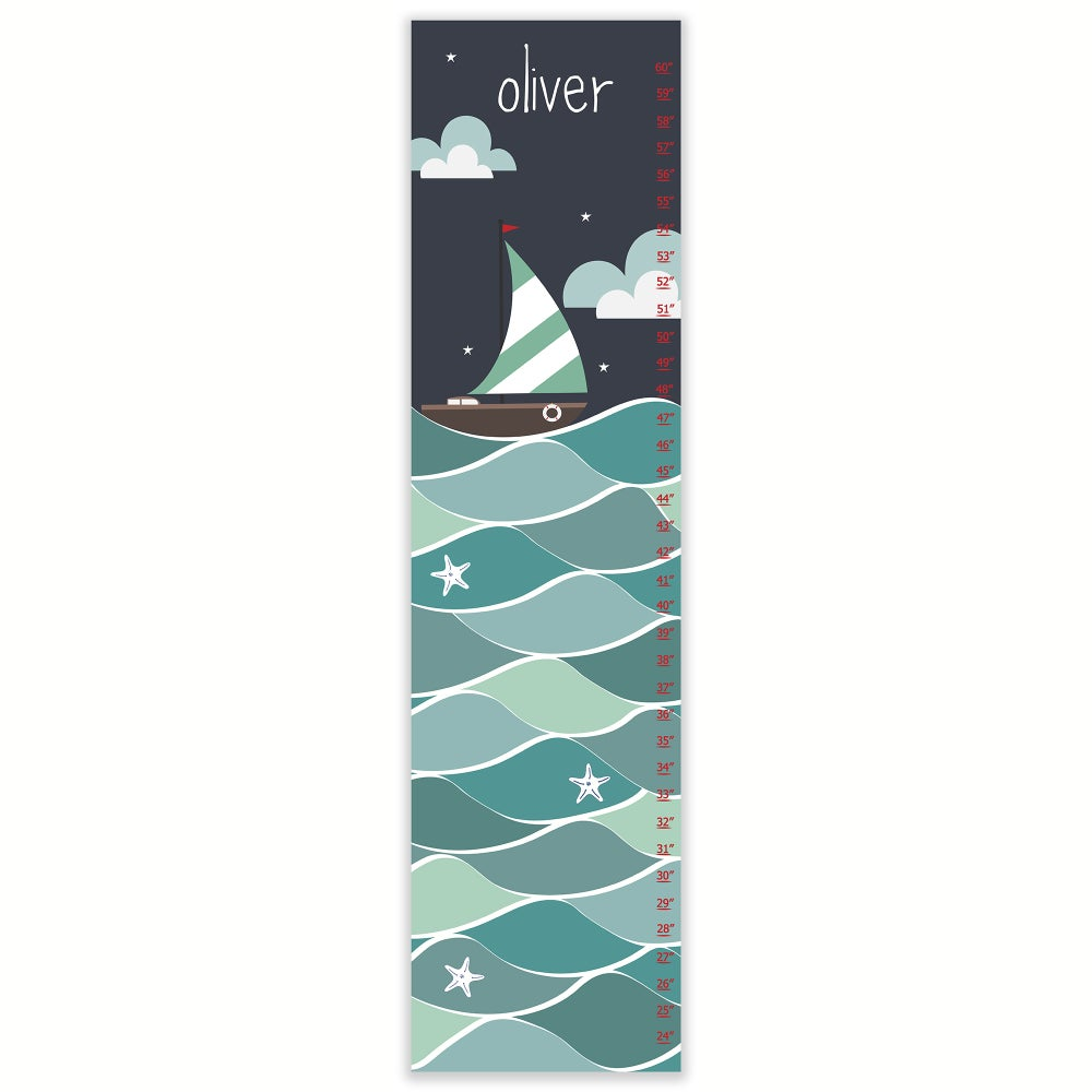 Image of Nautical Boat on the High Seas - Personalized Canvas Growth Chart