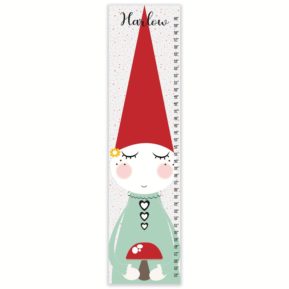 Image of Sweet Garden Gnome - Personalized Canvas Growth Chart