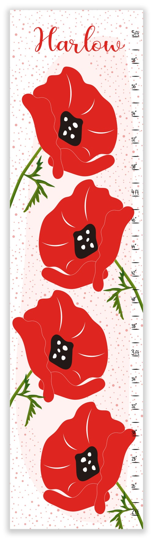Image of Bright Red Poppies - Personalized Canvas Growth Chart