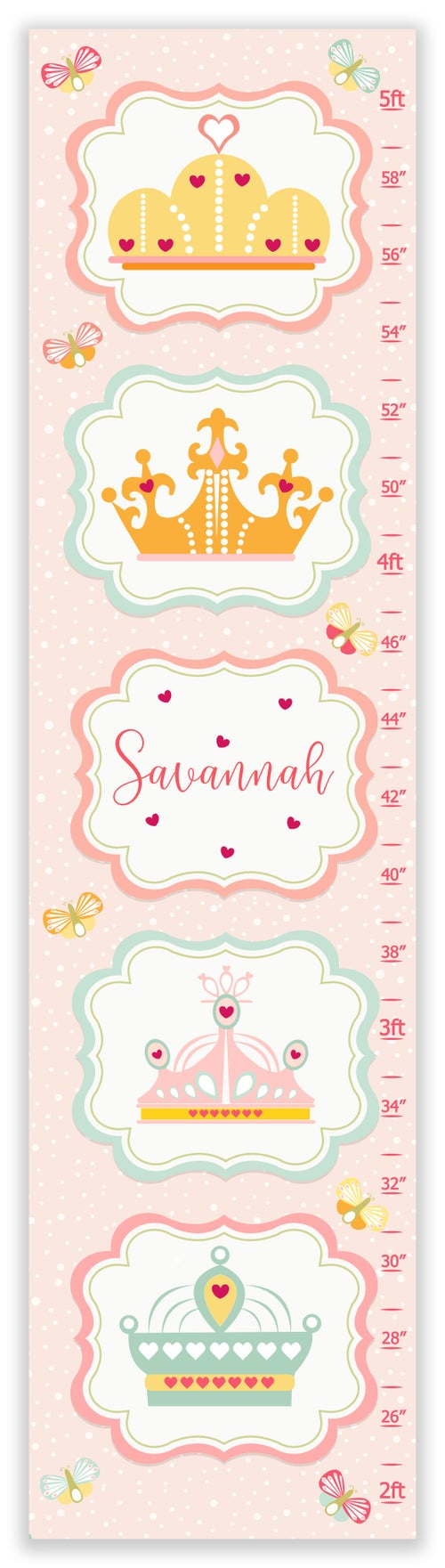 Image of Sweet Princess Crowns - Personalized Pink Canvas Growth Chart