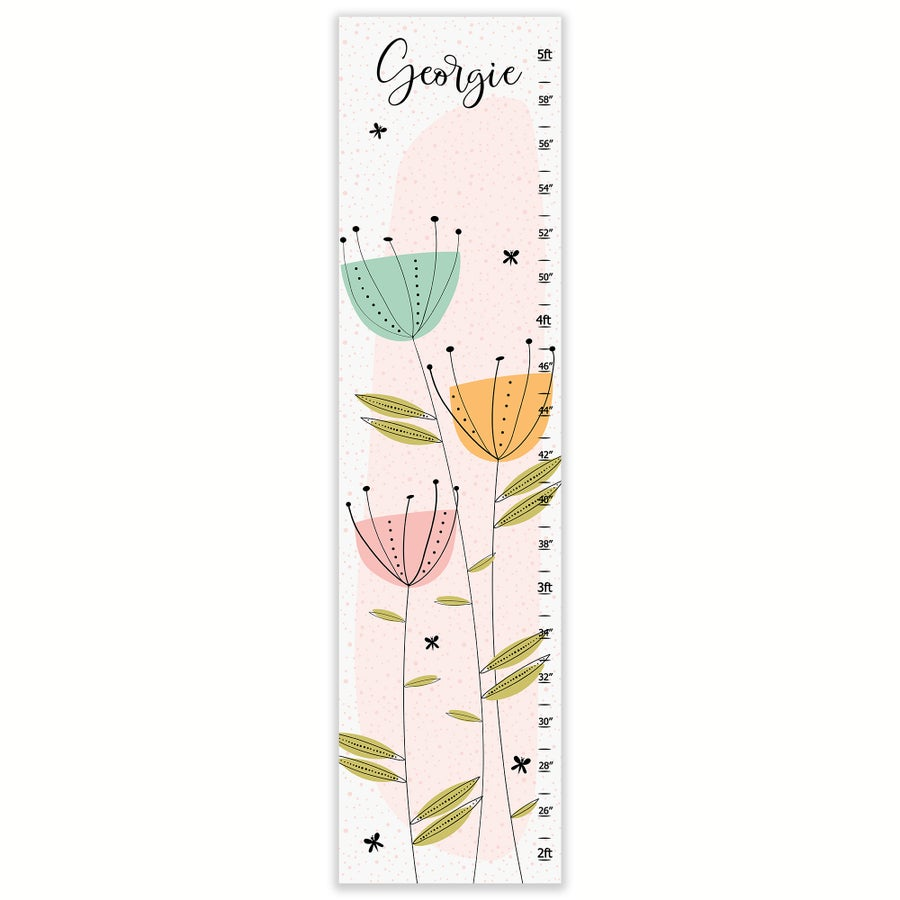 Image of Modern Floral Garden - Personalized Canvas Growth Chart