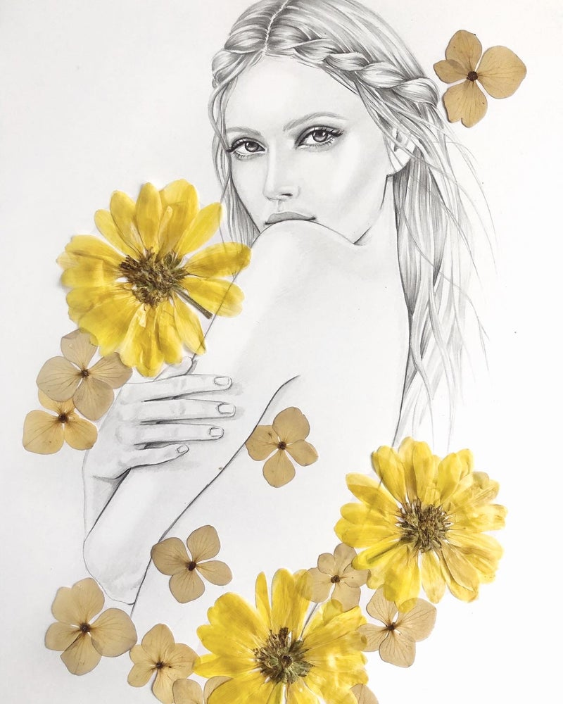 Image of AMBROSE - A3 original illustration with pressed flowers