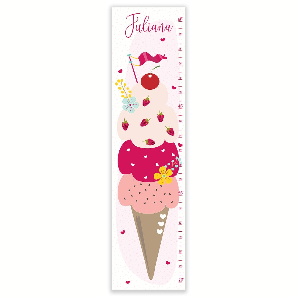 Image of Ice Cream Dreams - Personalized Pink Canvas Growth Chart